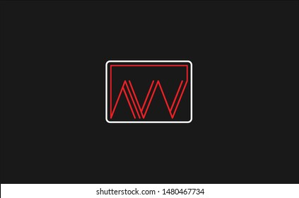 Creative unique modern stylish artistic red and white color AW WA A W initial based letter icon logo