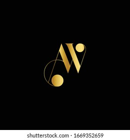Creative unique modern stylish artistic black and gold color AW WA A W initial based letter icon logo.