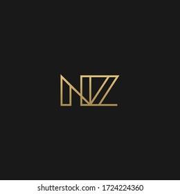Creative unique stylish NZ initial based letter icon logo
