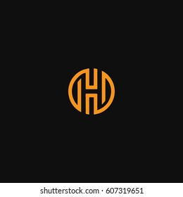 Creative unique stylish symbolic artistic circular shape  black and orange color HH H initial based letter icon logo