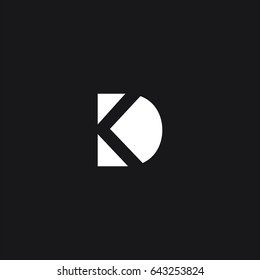 Creative unique symbolic connected tech brand black and white color KD K DK D initial based letter icon logo