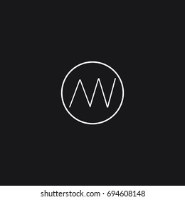 Creative unique unusual connected circular shaped artistic black and white color AW WA A W initial based letter icon logo.