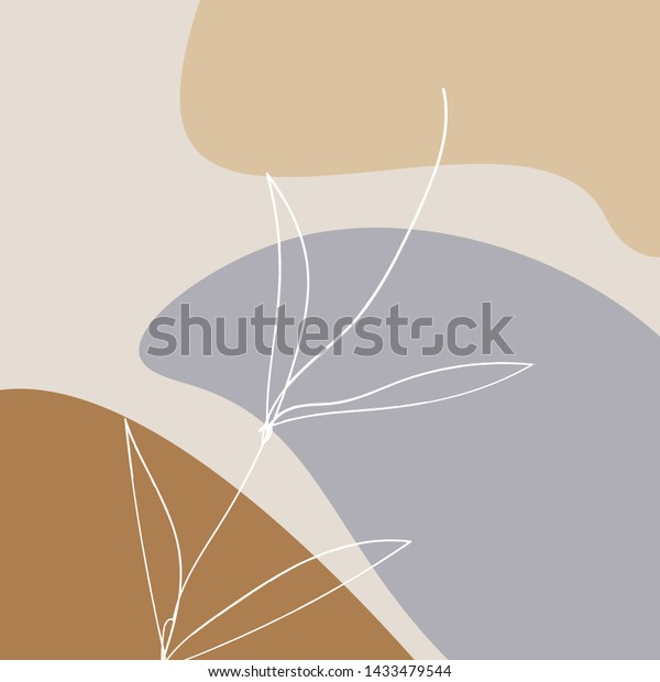 Creative Universal Aesthetic Floral Card Hand Stock Vector