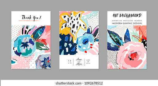 Creative universal artistic cards. Floral background. Trendy Graphic Design for banner, poster, cover, invitation, placard, brochure, header.