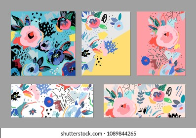Creative universal artistic cards. Trendy Graphic Design for banner, poster, cover, invitation, placard, brochure, header.
