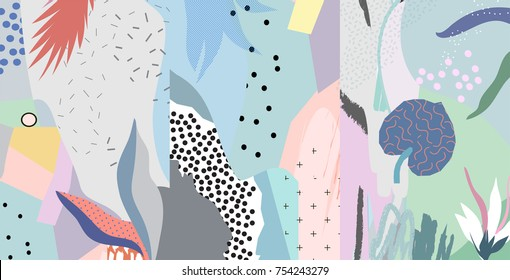 Creative universal artistic floral background. Hand Drawn textures. Trendy Graphic Design for banner, poster, card, cover, invitation, placard, brochure or header.