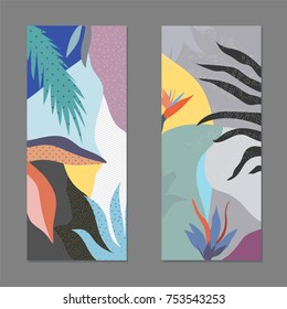 Creative universal artistic floral backgrounds. Trendy Graphic Design for banner, poster, card, cover, invitation, placard, brochure or header.