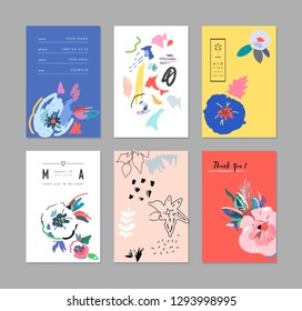 Creative universal artistic floral cards. Trendy Graphic Design for banner, poster, cover, invitation, placard, brochure, header.
