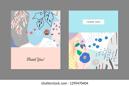 Creative universal artistic floral cards. Trendy Graphic Design for banner, poster, cover, invitation, placard, brochure, header