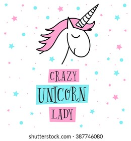 Creative universal card. Simple delicate vector illustration. Wedding, anniversary, birthday, Valentine's day, party. Design template. Crazy Unicorn Lady