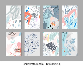 Creative universal floral artistic cards. Trendy Graphic Design for banner, poster, cover, invitation, placard, brochure. Abstract art