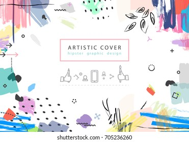 Creative universal floral artistic cover in trendy style with Hand Drawn textures. Collage.  Hipster graphic design for Greeting Cards, Wedding, Anniversary, Birthday, Valentin's day, Posters. Vector