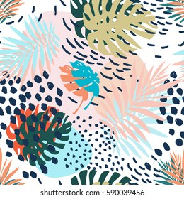 Creative universal floral background in tropical style. Hand Drawn textures. Tropic leaves in bright colors. Vector. Isolated.