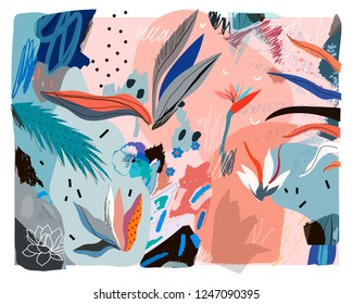 Creative universal floral header in tropical style. Modern graphic design. Hand Drawn textures. Ideal for web, card, poster, cover, invitation, brochure. Vector