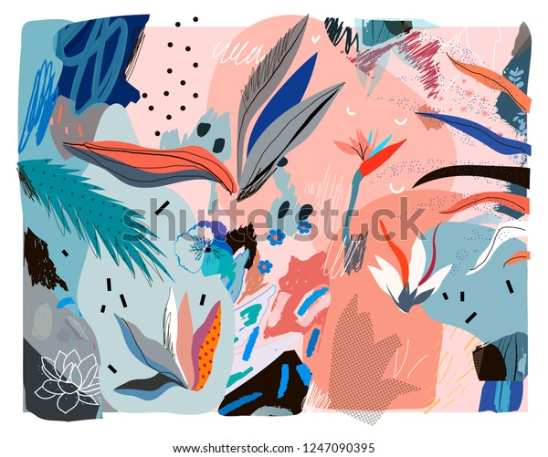 Creative Universal Floral Header Tropical Style Stock Vector