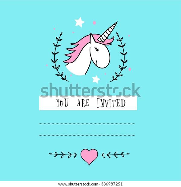 Creative Universal Unicorn Card Vector Illustration Stock ...