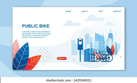 Creative Urban Transportation Web Design. Public Bike Cartoon Flat Banner Vector Illustration. Using Sharing System Concept. Taking Transport Vehicle from Station, Traveling. Ecological Type.