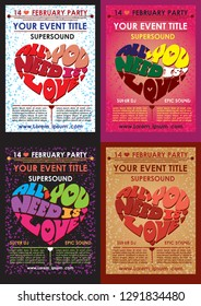 Creative valentines conceptual vector set. Valentines day posters.