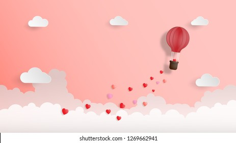 Creative valentines day background vector illustration paper cut style. Hot air balloon flying and cloud on pink background. Wallpaper, sale offer, web banner, poster, flyer, leaflet.