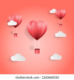 Creative valentines day postcard vector illustration paper cut style 2019 color trend background. Heart shape balloon and cloud on pink background for sale offer, web banner, poster, flyer, leaflet.