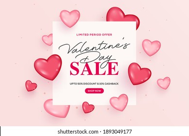 Creative valentine's day sale background. Romantic composition with hearts. Vector illustration. Wallpaper, flyers, invitation, posters, brochure, banners, ads, coupons, promotional material.