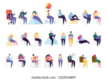 Creative Various People Professional Character Set. Businessman Work Sit on Chair Isolated. Woman Work Dressmaker Knitting Machine. Businesswoman Manager Collection Flat Cartoon Vector Illustration