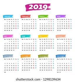 Creative vector 2019 calendar weeks start from monday