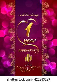 creative vector abstract for 1st Anniversary Celebration with creative illustration in a textured background.