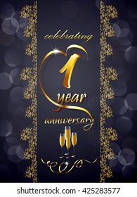 creative vector abstract for 1st Anniversary Celebration with creative illustration and some floral pattern in a background.