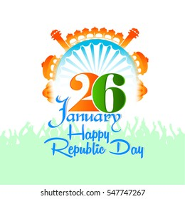 creative vector abstract for 26th January Happy Republic Day of India with nice and creative design illustration in a background.