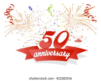 creative vector abstract for 50th Anniversary Celebration with creative illustration in a background.