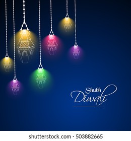 creative vector abstract for Diwali Hanging Lantern with colourful design illustration in a beautiful background.