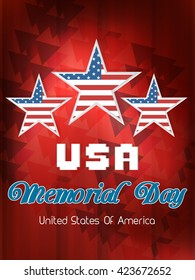 creative vector abstract for Happy Memorial Day with creative three star illustration in a textured red background.