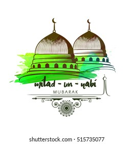 creative vector abstract with nice and beautiful design illustration of green mosque and moon in a background with the text of eid and Milad Un Nabi
