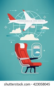 Creative vector airline travel, business trip, vacation journey concept illustration with cabin seat and window, airliner jet plane and world globe linear icon. Travel background. Airway trip