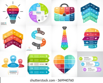 Creative vector arrows infographics set, diagrams, graphs, charts. 3, 4, 5, 6, 7, 8 cycle options, parts, steps. Human head, idea light bulb, plus sign, businessman bag, tie, heart, stairs infographic