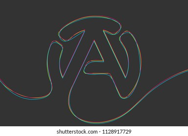 Creative vector atheism sign. One line style illustration