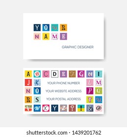 Creative vector business card template with alphabet letters
