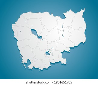 Creative vector Cambodia country border outline map divided on regions isolated on background. East country template for pattern, report, infographic, banner. Asia nation silhouette sign concept.