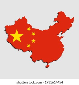 Creative vector China country border outline map made flag isolated on background. East country template for pattern, report, infographic, banner. Asia nation silhouette sign concept.