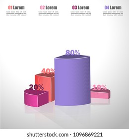 Creative vector colorful 3D pie chart can be used for work flow layout, diagram, annual report, web design. Business concept with 4 options, steps or processes.10 20 30 40 50 60 70 80 90 100 percent.