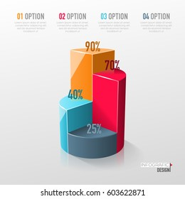Creative vector colorful 3D pie chart can be used for work flow layout, diagram, annual report, web design. Business concept with 4 options, steps or processes.