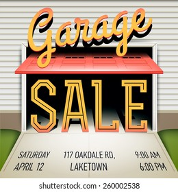 Creative vector colorful garage or yard sale event square web banner template or printable poster with sample text and lettering