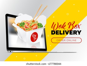 Creative Vector Concept of Food Delivery Banner. Order Wok Box Online. Asian Noodle Box Appear from Laptop. Fast Food Banner for Chinese Restaurant, Delivery Service.