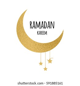 Creative vector crescent moon with hanging stars for Holy Month of Muslim Community, Ramadan Kareem celebration made in gold sparkling style