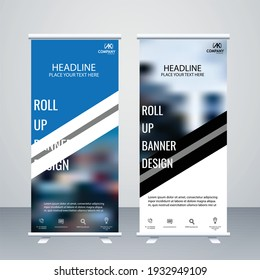 Creative Vector dark blue and black colour roll up banner design