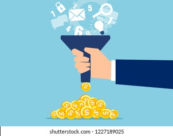 Creative vector design of businessman holding funnel and changing ideas into pile of money on blue background