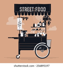 Creative vector detailed graphic design on street food with retro looking vending portable cart with awning, refreshments, bowls, bottles, and more | Mobile cafe stand illustration