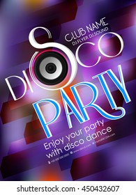 creative vector disco party flyer with nice and beautiful design illustration in a background.