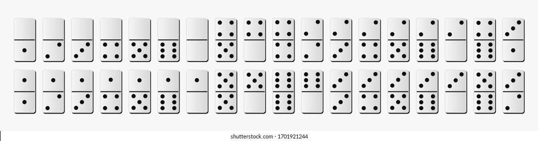 Creative vector domino full set isolated on white background. Dominoes bones art design. Abstract concept for game graphic element